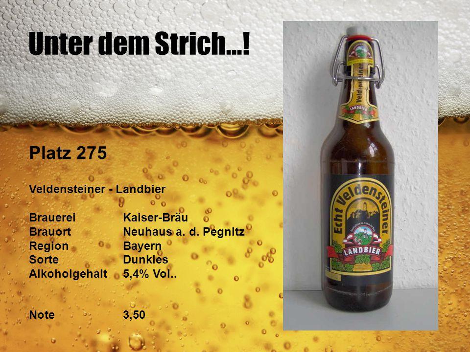 Unter dem Strich...! Platz 275 Veldensteiner - Landbier