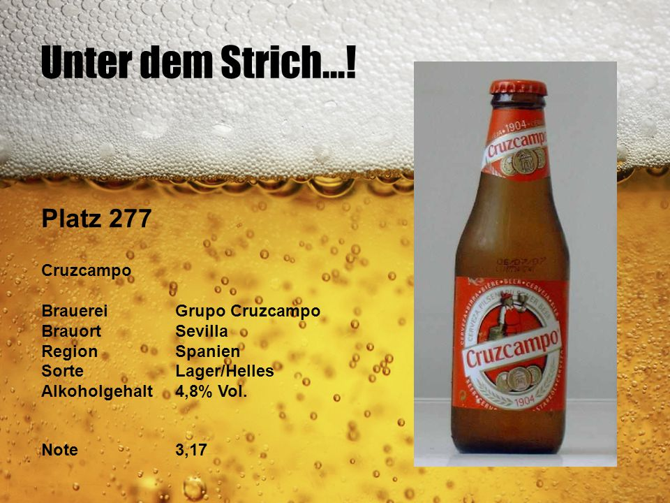 Unter dem Strich...! Platz 277 Cruzcampo Brauerei Grupo Cruzcampo
