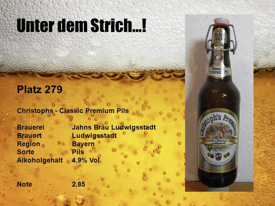 Unter dem Strich...! Platz 279 Christophs - Classic Premium Pils