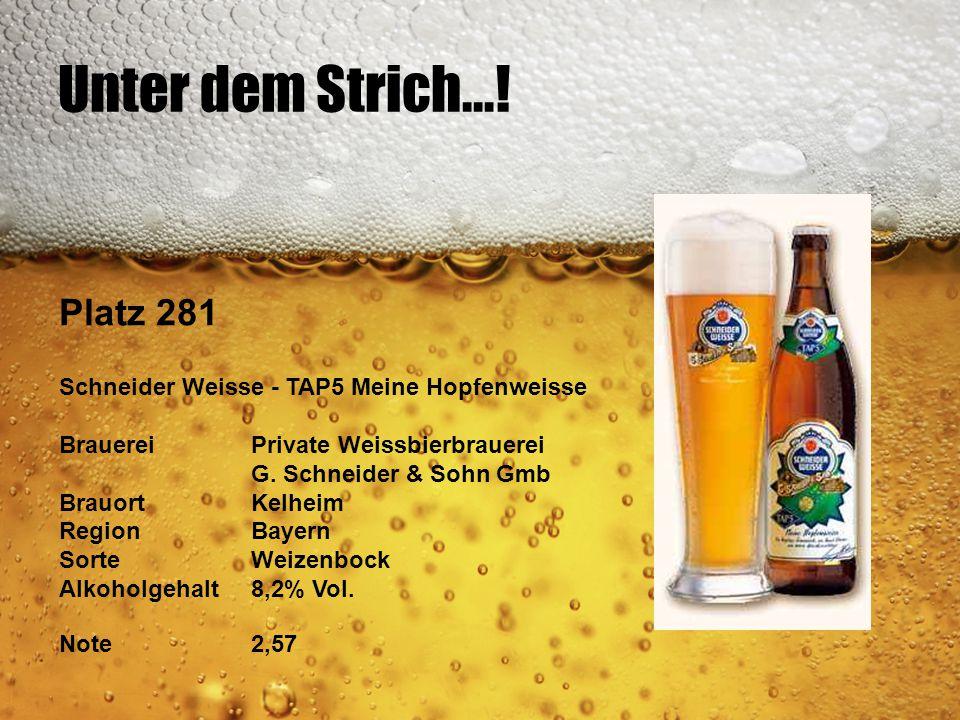 Unter dem Strich...! Platz 281. Schneider Weisse - TAP5 Meine Hopfenweisse. Brauerei Private Weissbierbrauerei.