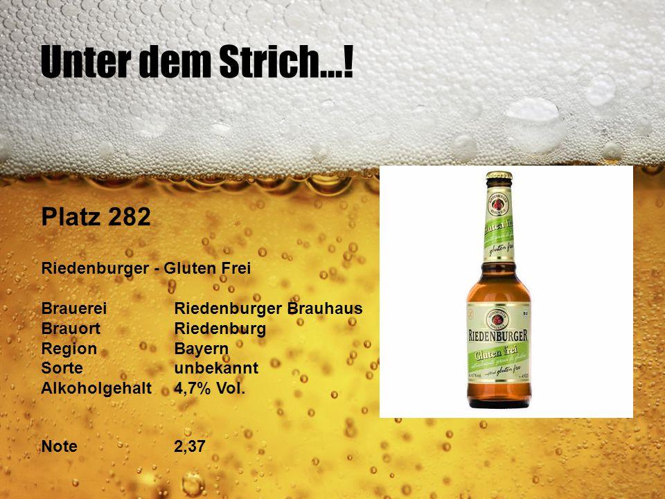 Unter dem Strich...! Platz 282 Riedenburger - Gluten Frei