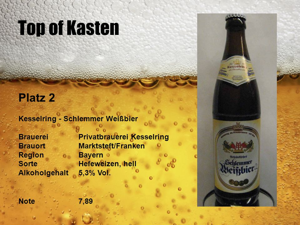 Top of Kasten Platz 2 Kesselring - Schlemmer Weißbier