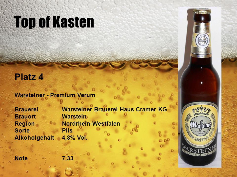 Top of Kasten Platz 4 Warsteiner - Premium Verum