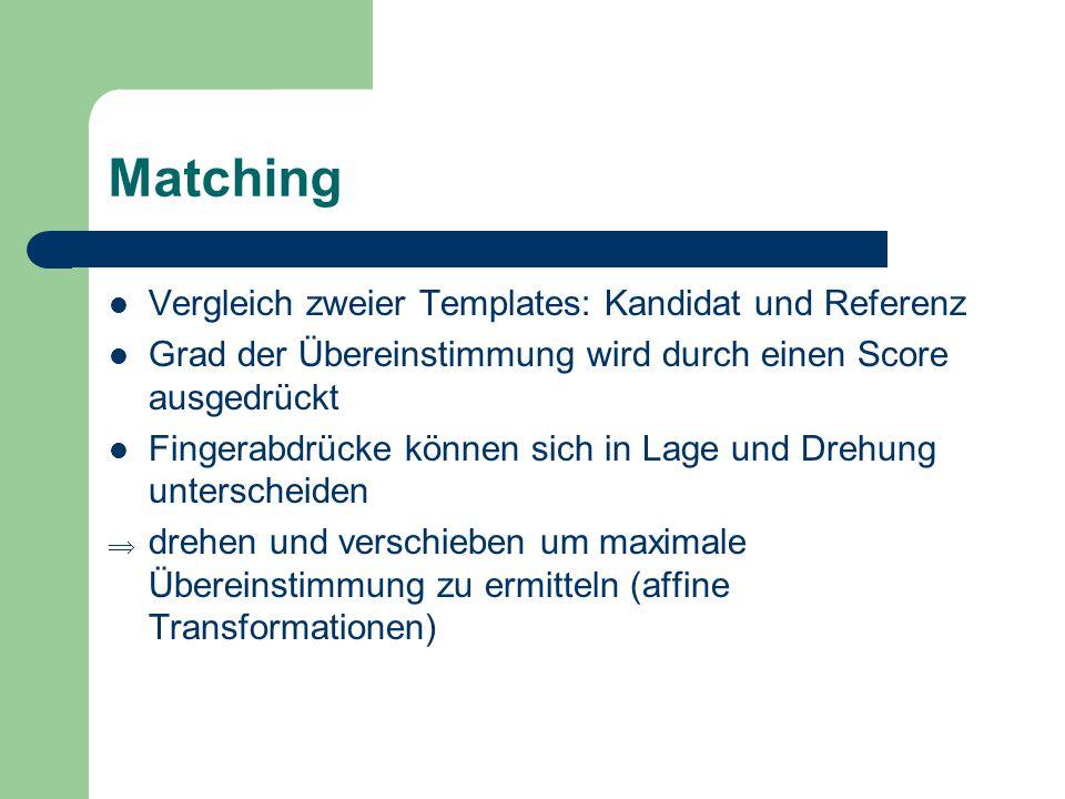 Matching Vergleich zweier Templates: Kandidat und Referenz