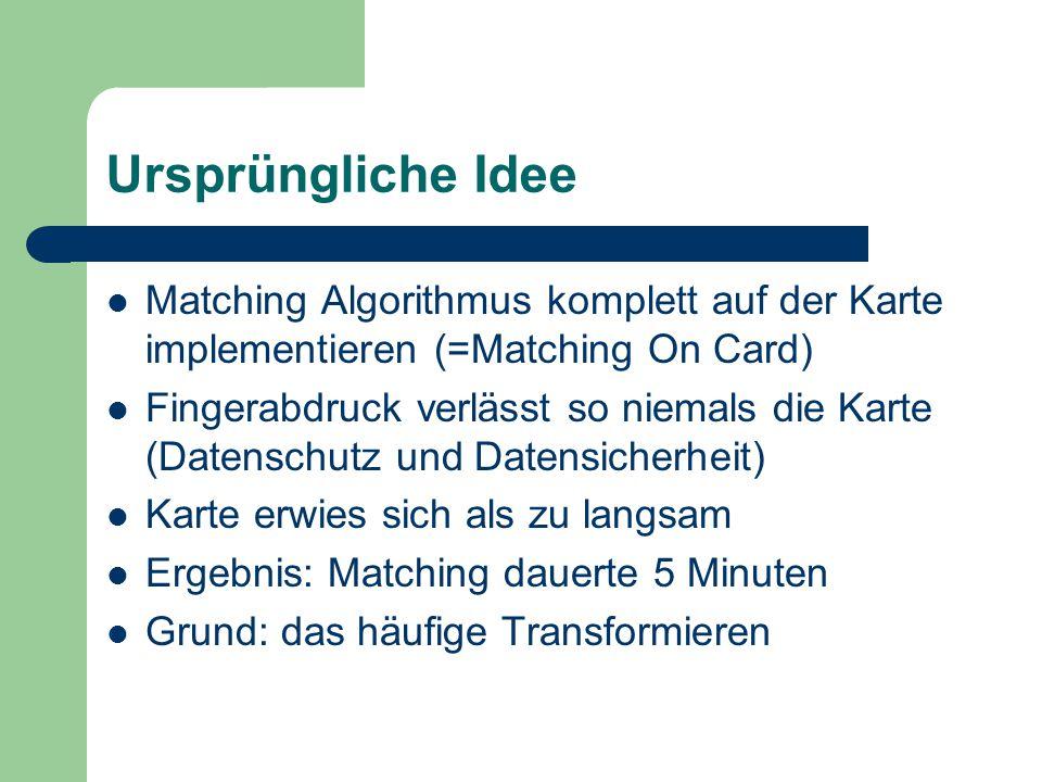 Ursprüngliche Idee Matching Algorithmus komplett auf der Karte implementieren (=Matching On Card)