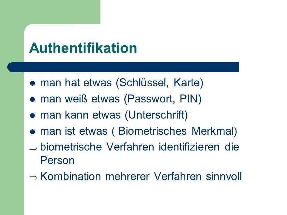 Authentifikation man hat etwas (Schlüssel, Karte)