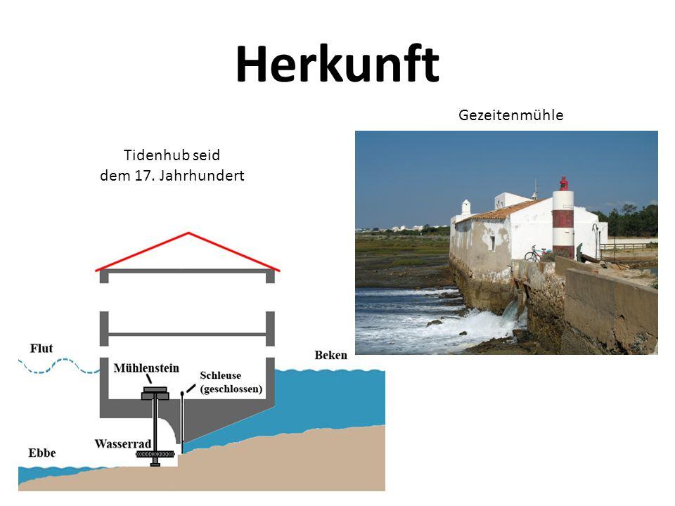 Herkunft Gezeitenmühle Tidenhub seid dem 17. Jahrhundert