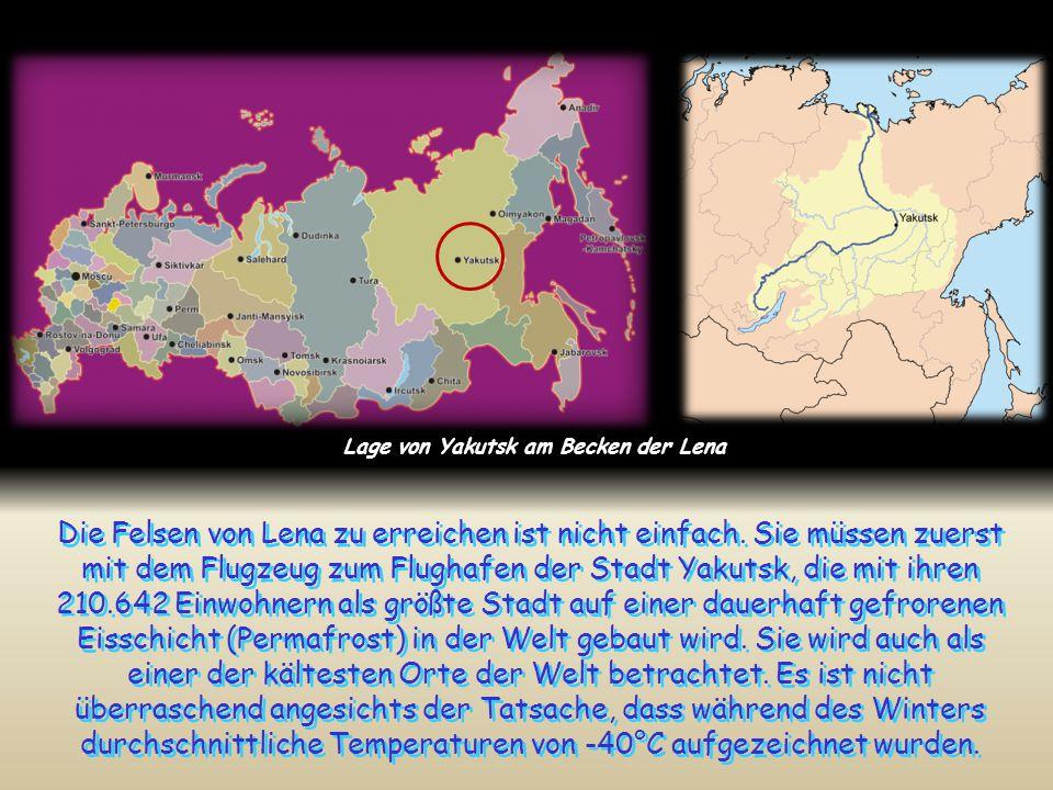 Lage von Yakutsk am Becken der Lena
