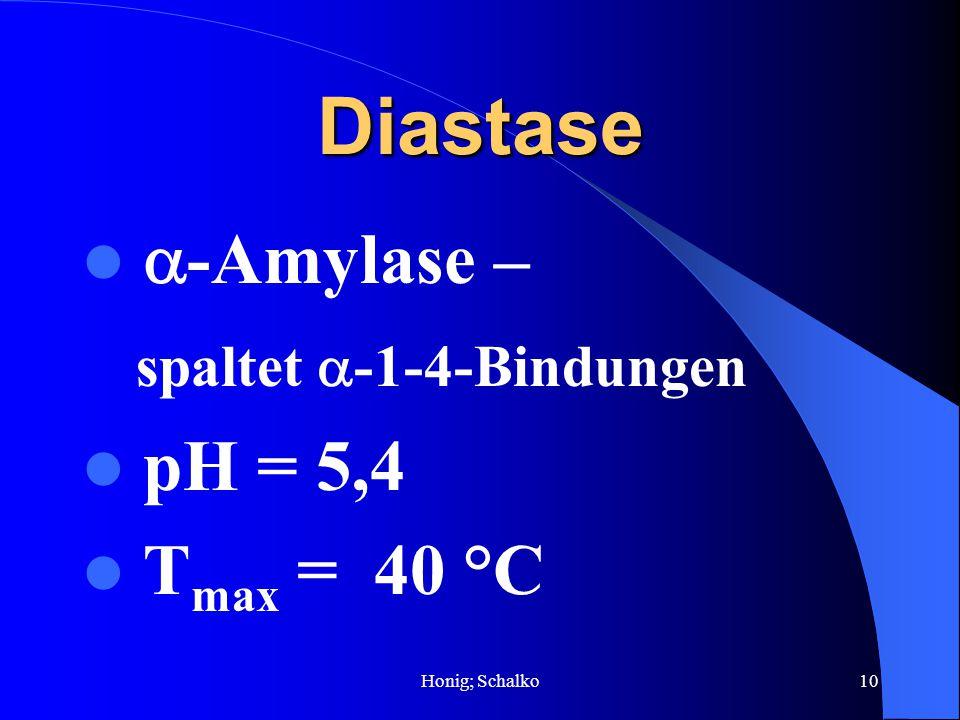 Diastase -Amylase – spaltet -1-4-Bindungen pH = 5,4 Tmax = 40 °C