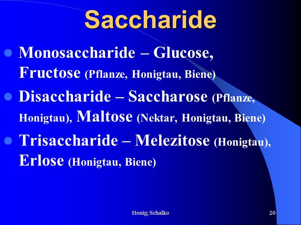 Saccharide Monosaccharide – Glucose, Fructose (Pflanze, Honigtau, Biene)