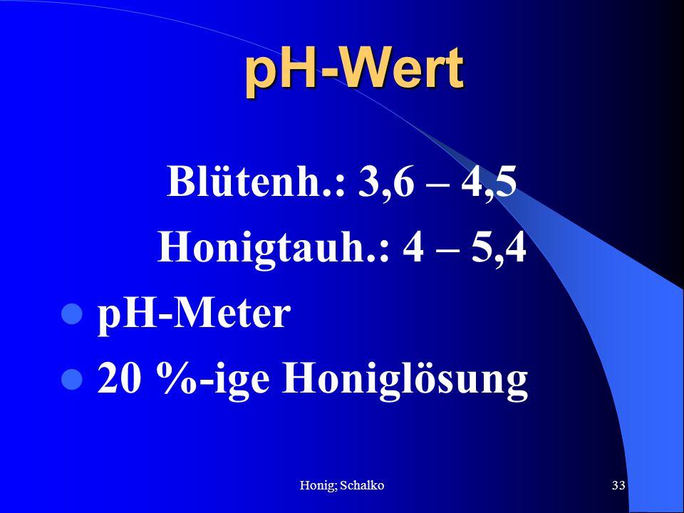 pH-Wert Blütenh.: 3,6 – 4,5 Honigtauh.: 4 – 5,4 pH-Meter