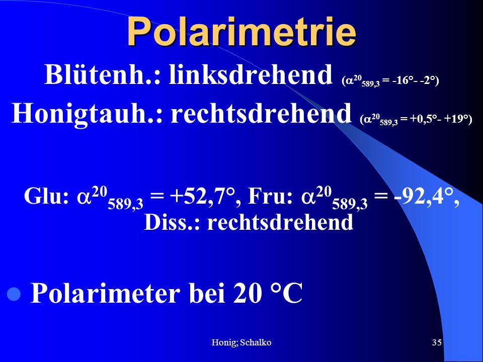 Polarimetrie Blütenh.: linksdrehend (20589,3 = -16°- -2°)
