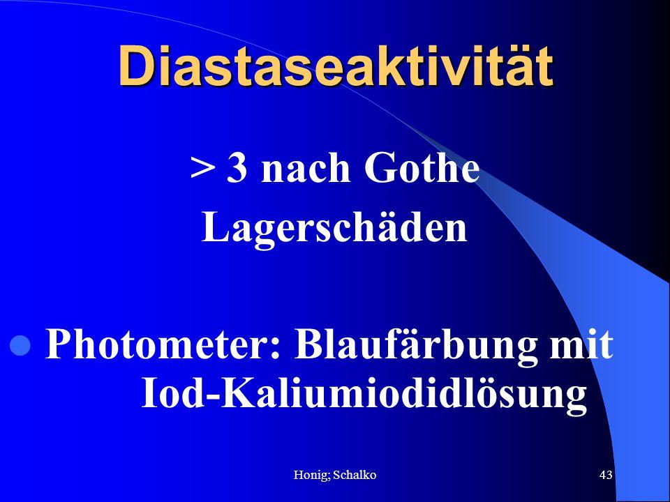 Diastaseaktivität > 3 nach Gothe Lagerschäden