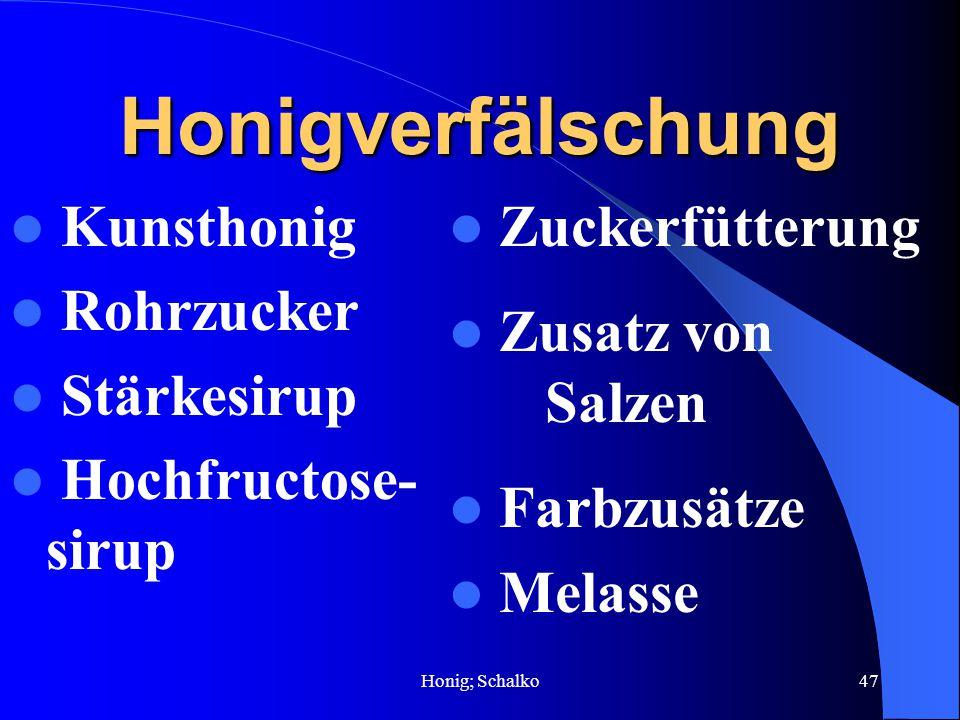 Honigverfälschung Kunsthonig Rohrzucker Stärkesirup Hochfructose-sirup
