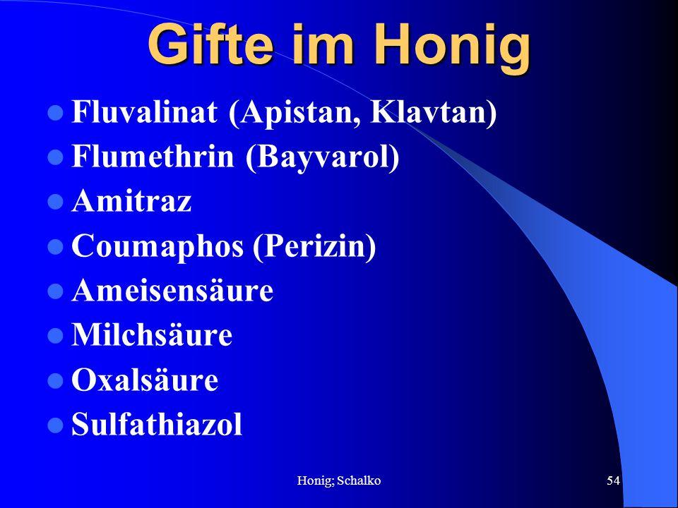 Gifte im Honig Fluvalinat (Apistan, Klavtan) Flumethrin (Bayvarol)