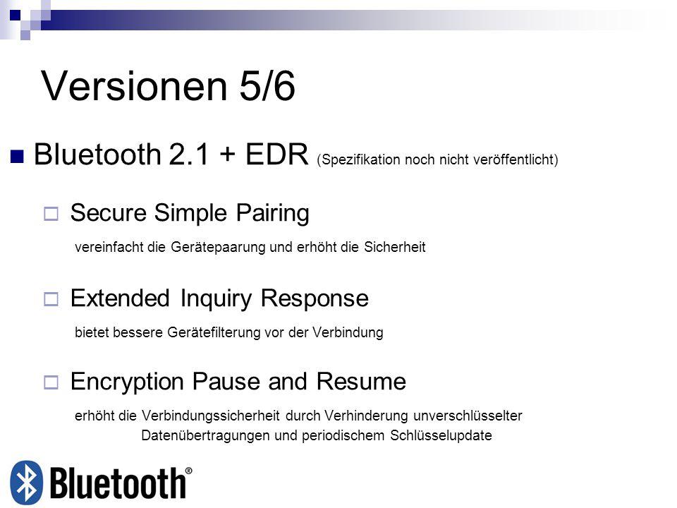 Versionen 5/6 Bluetooth 2.1 + EDR (Spezifikation noch nicht veröffentlicht)