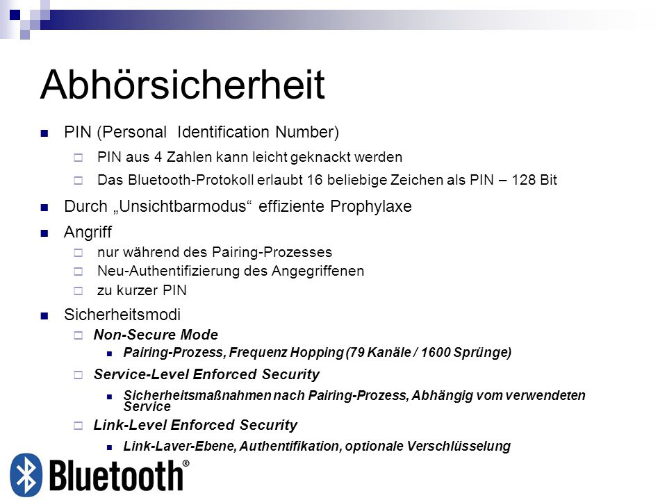 Abhörsicherheit PIN (Personal Identification Number)‏