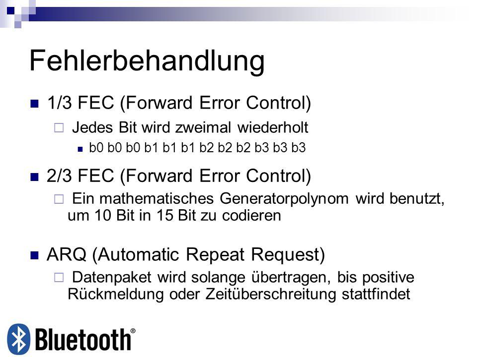 Fehlerbehandlung 1/3 FEC (Forward Error Control)