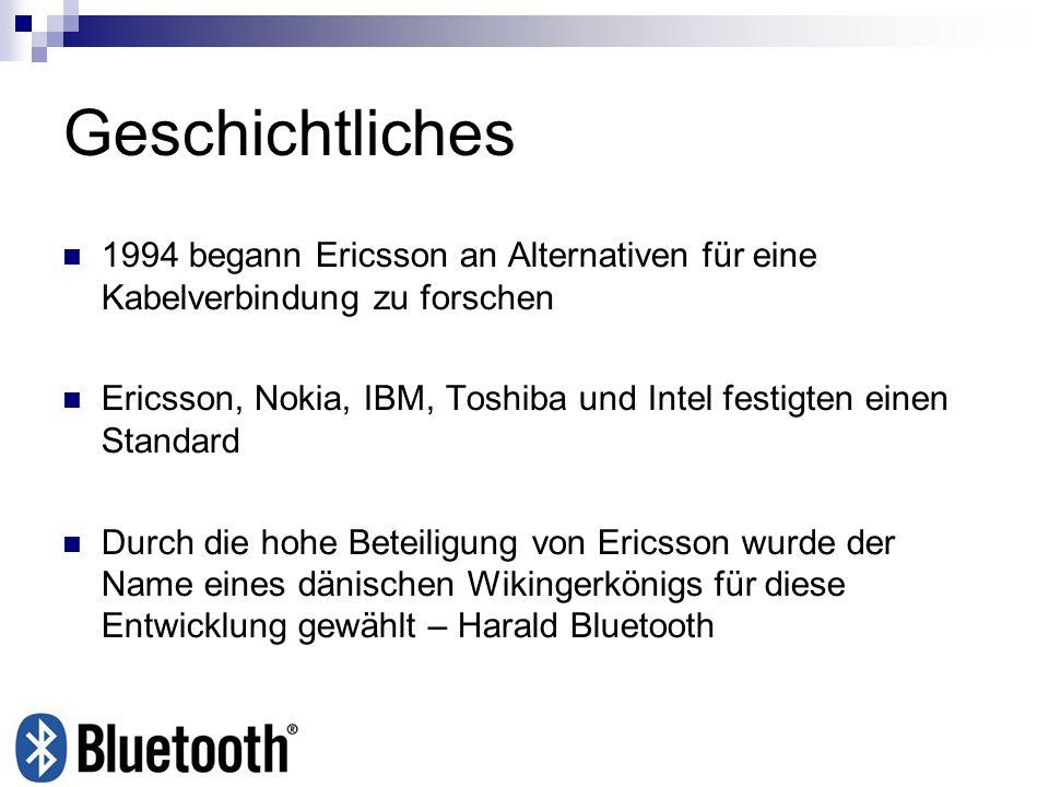 Geschichtliches 1994 begann Ericsson an Alternativen für eine Kabelverbindung zu forschen.