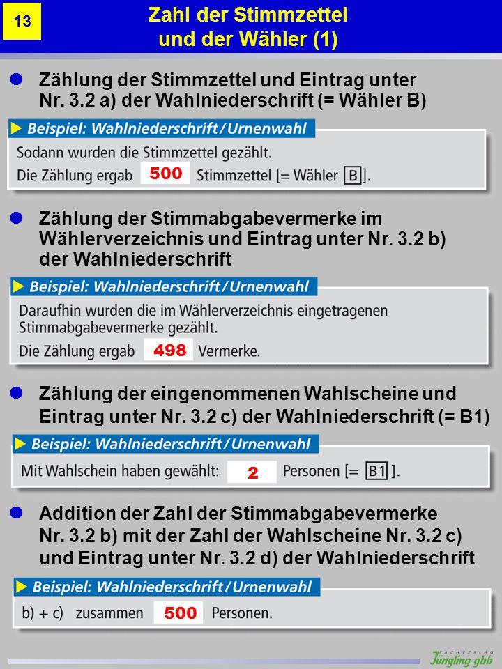 Zahl der Stimmzettel und der Wähler (1)