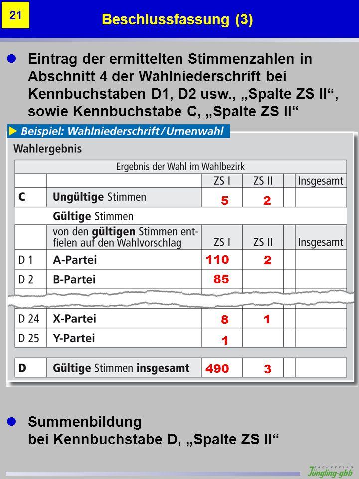 """ Summenbildung bei Kennbuchstabe D, """"Spalte ZS II"""