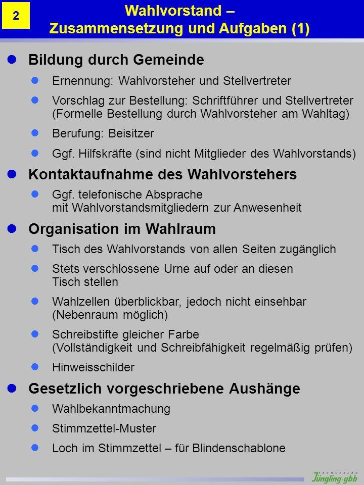 Wahlvorstand – Zusammensetzung und Aufgaben (1)