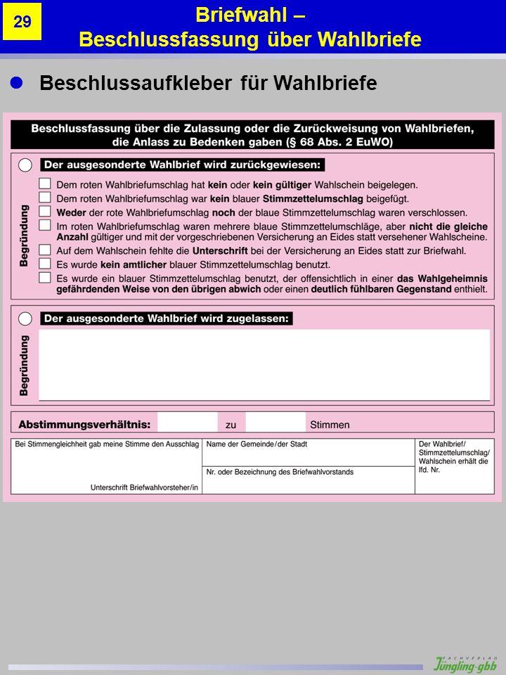 Briefwahl – Beschlussfassung über Wahlbriefe