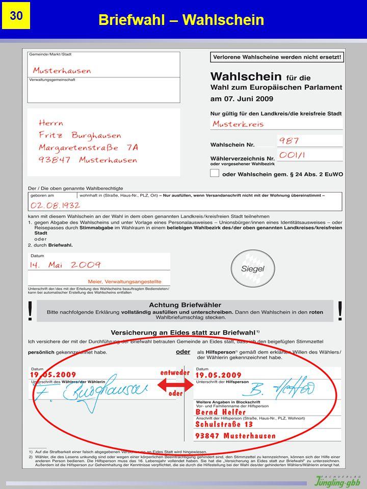 Briefwahl – Wahlschein