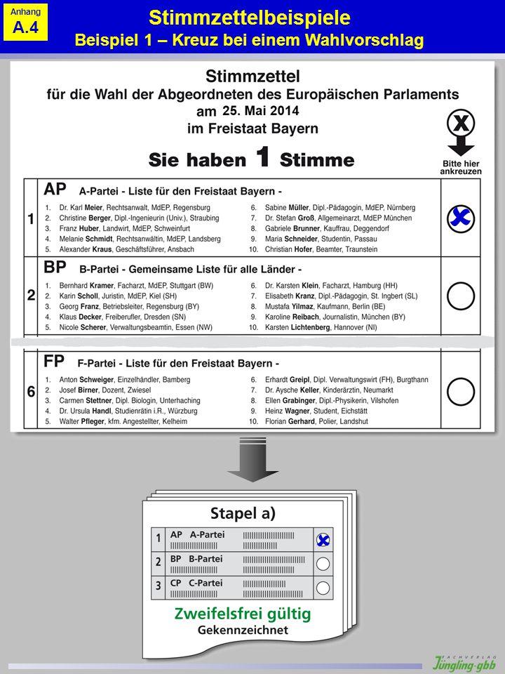 Stimmzettelbeispiele Beispiel 1 – Kreuz bei einem Wahlvorschlag