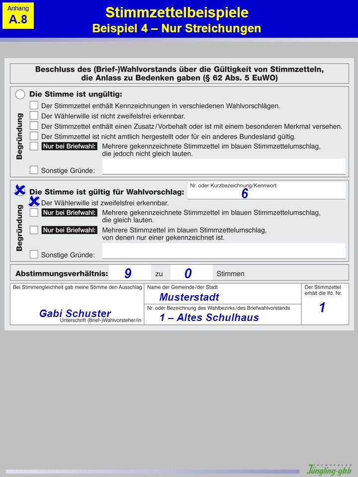 Stimmzettelbeispiele Beispiel 4 – Nur Streichungen
