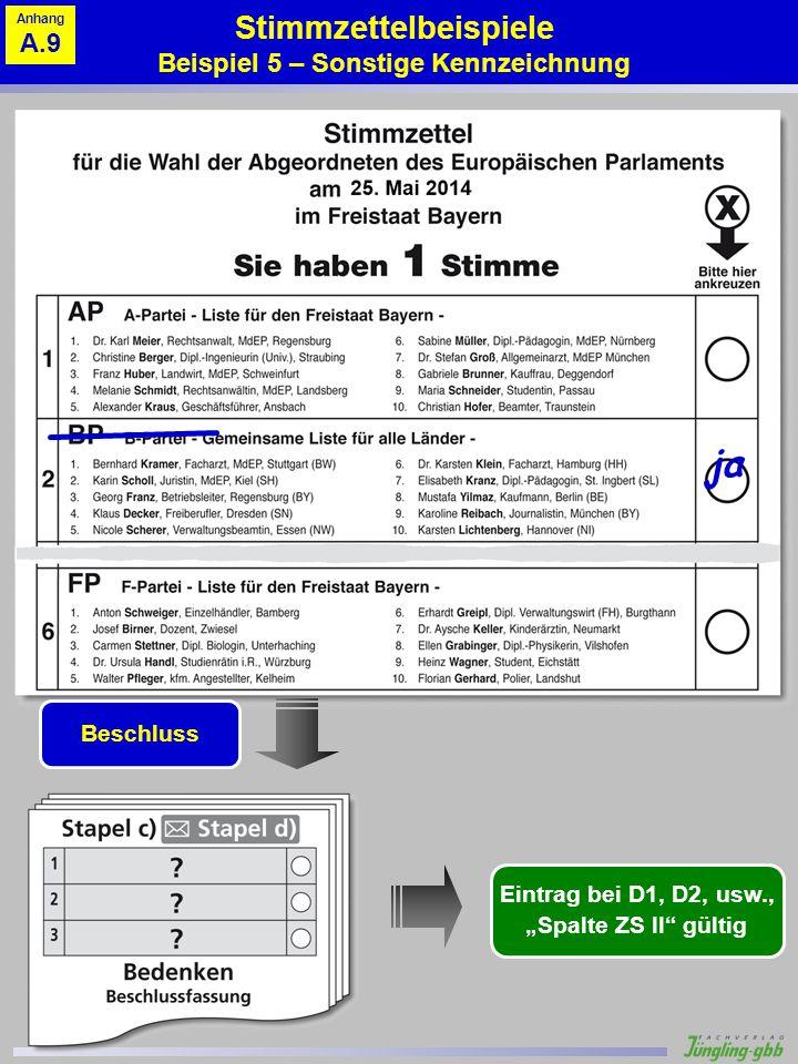 Stimmzettelbeispiele Beispiel 5 – Sonstige Kennzeichnung