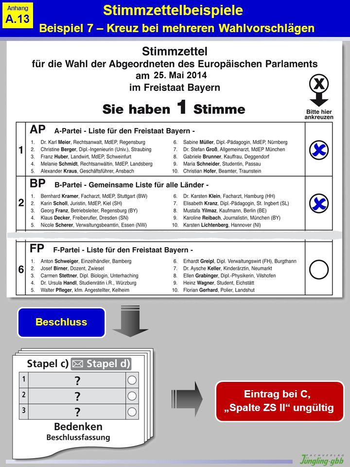 Stimmzettelbeispiele Beispiel 7 – Kreuz bei mehreren Wahlvorschlägen