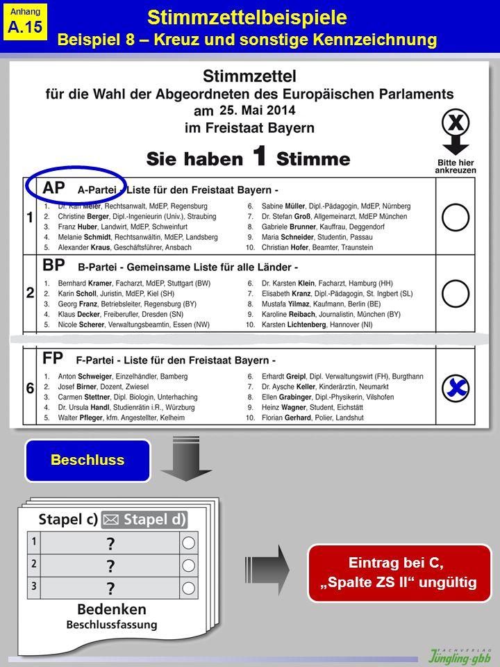 Stimmzettelbeispiele Beispiel 8 – Kreuz und sonstige Kennzeichnung