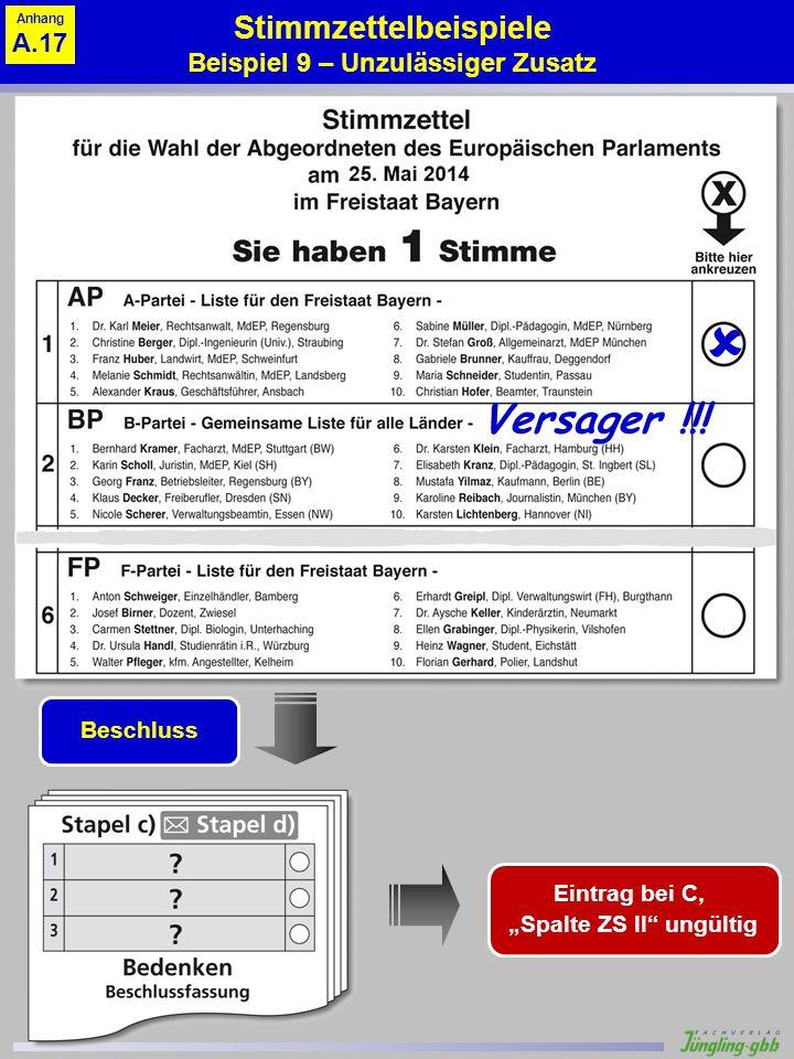 Stimmzettelbeispiele Beispiel 9 – Unzulässiger Zusatz