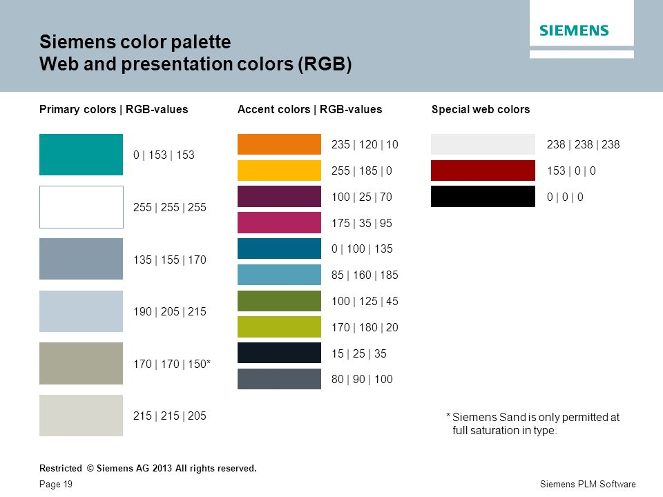 Siemens color palette Web and presentation colors (RGB)