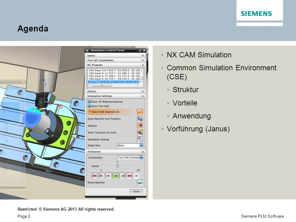 Agenda NX CAM Simulation Common Simulation Environment (CSE) Struktur