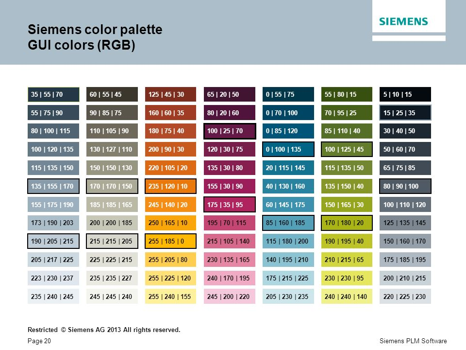 Siemens color palette GUI colors (RGB)