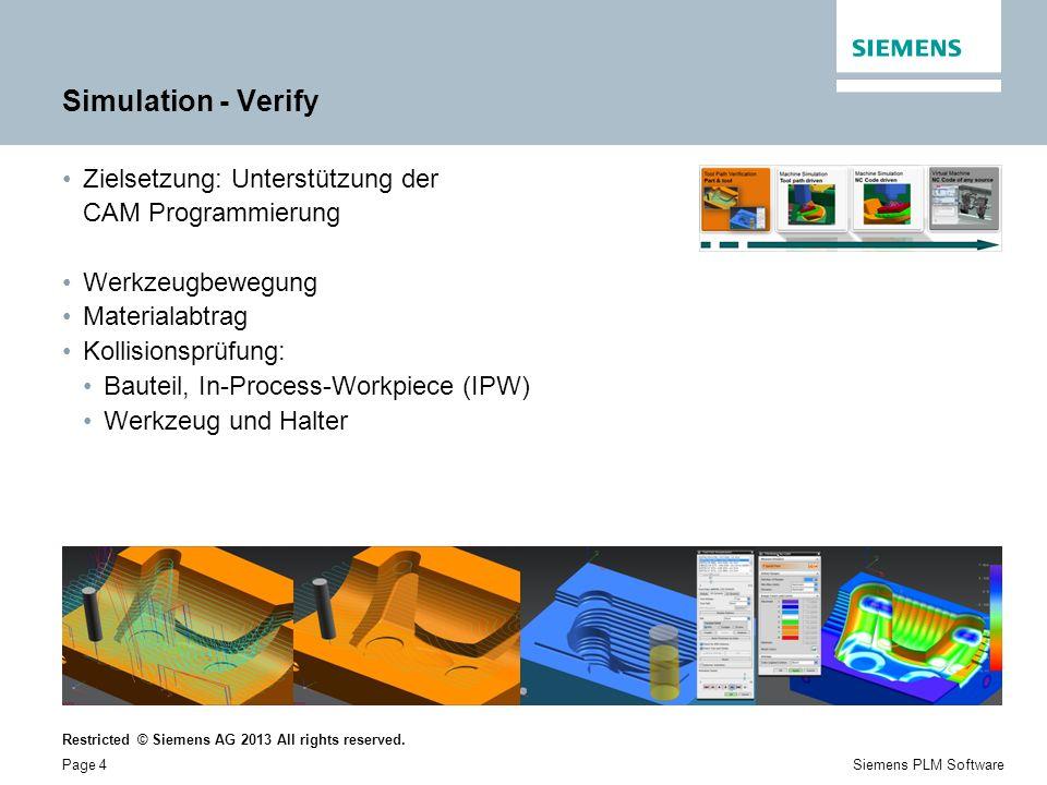 Simulation - Verify Zielsetzung: Unterstützung der CAM Programmierung