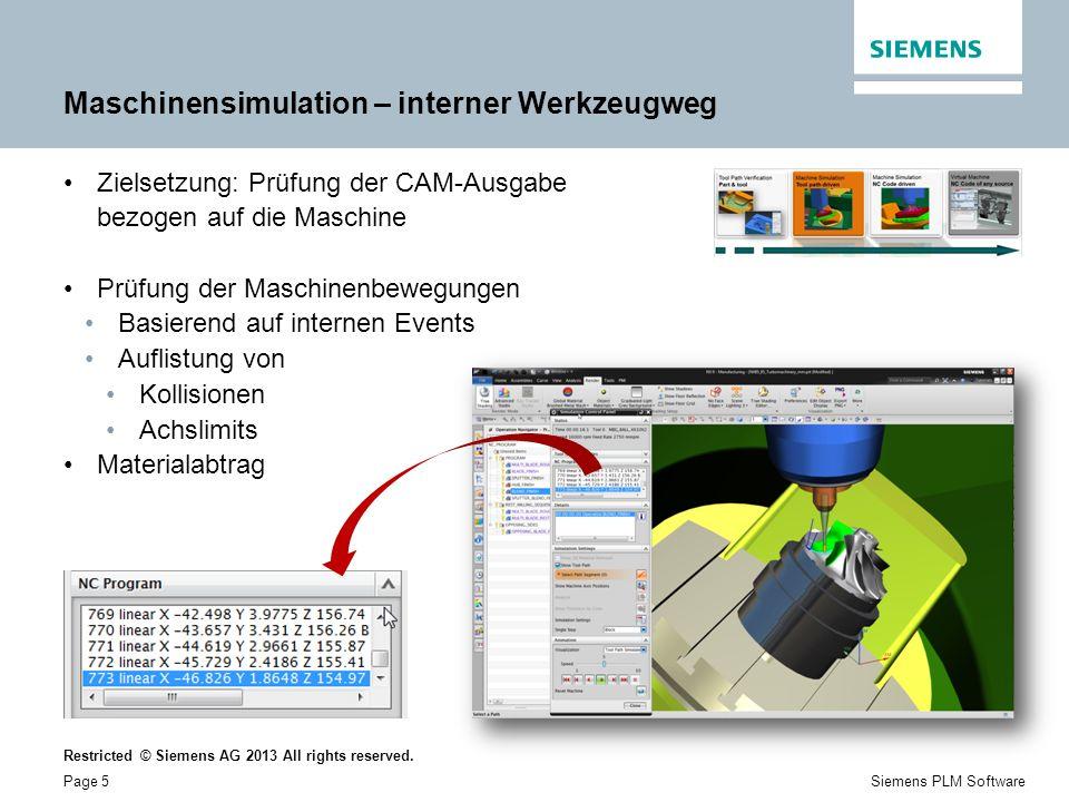 Maschinensimulation – interner Werkzeugweg