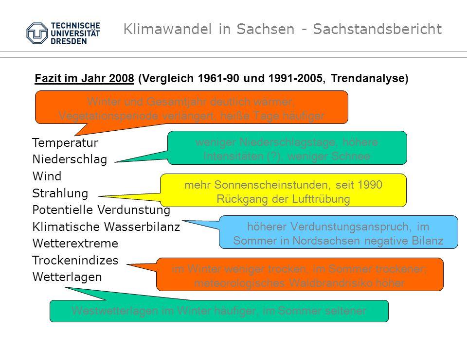 Fazit im Jahr 2008 (Vergleich 1961-90 und 1991-2005, Trendanalyse)