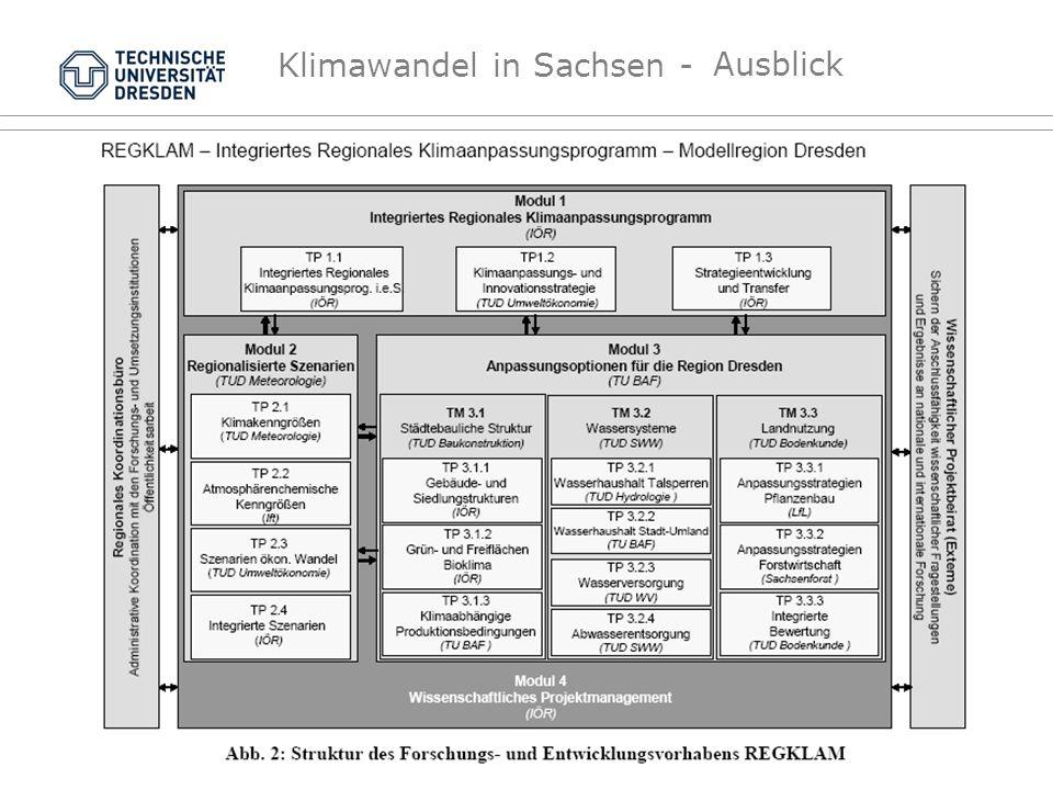 Ausblick Dresden wird Modellregion für die Entwicklung von Anpassungsstrategien an den Klimawandel.