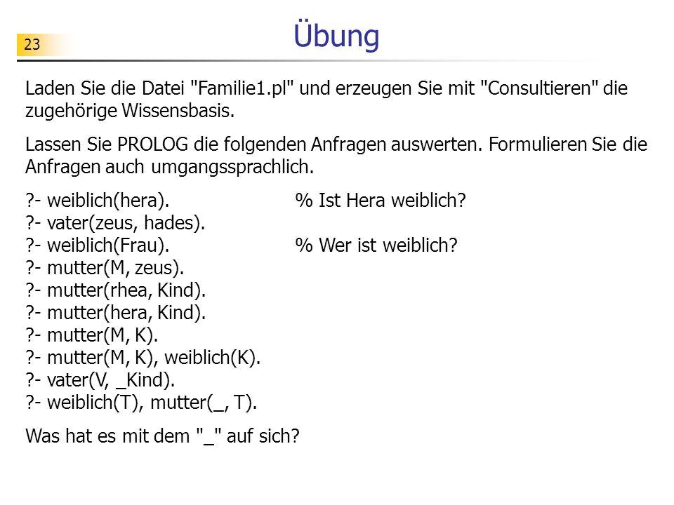 Übung Laden Sie die Datei Familie1.pl und erzeugen Sie mit Consultieren die zugehörige Wissensbasis.