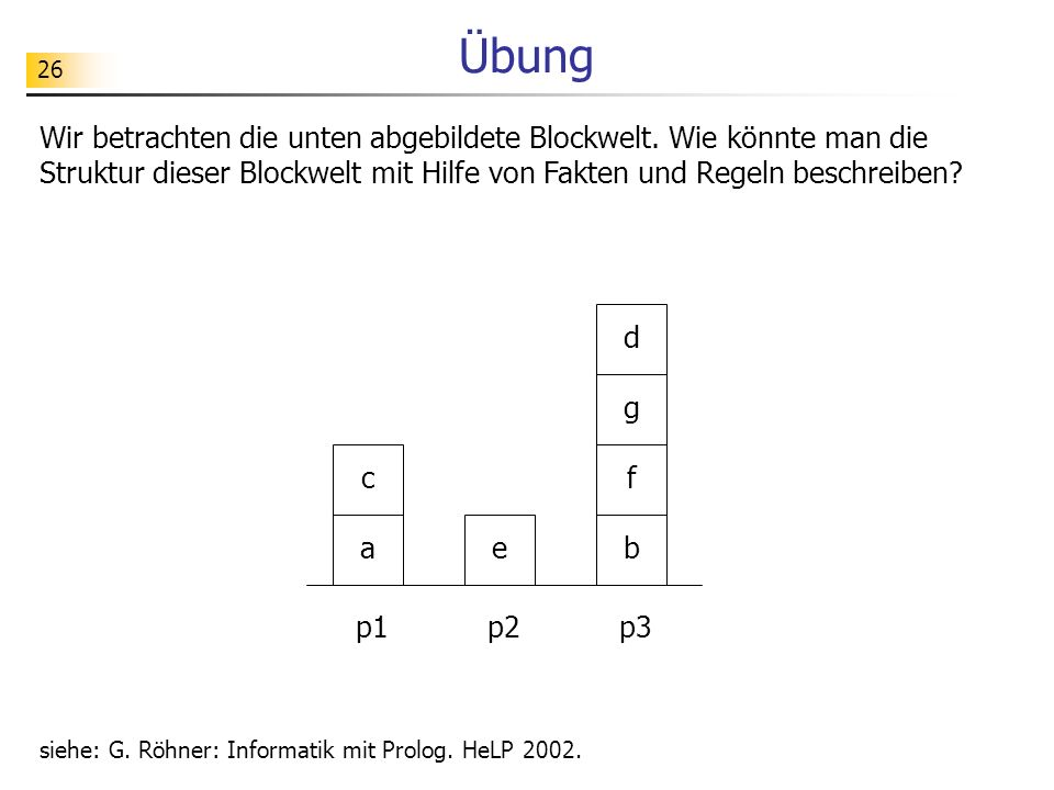 Übung Wir betrachten die unten abgebildete Blockwelt. Wie könnte man die Struktur dieser Blockwelt mit Hilfe von Fakten und Regeln beschreiben
