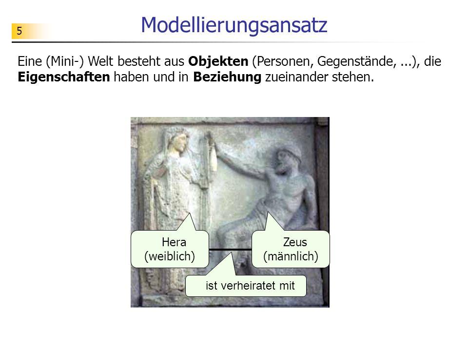Modellierungsansatz Eine (Mini-) Welt besteht aus Objekten (Personen, Gegenstände, ...), die Eigenschaften haben und in Beziehung zueinander stehen.