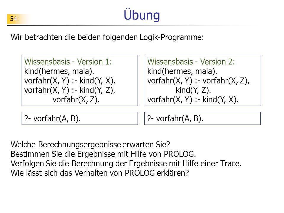Übung Wir betrachten die beiden folgenden Logik-Programme: