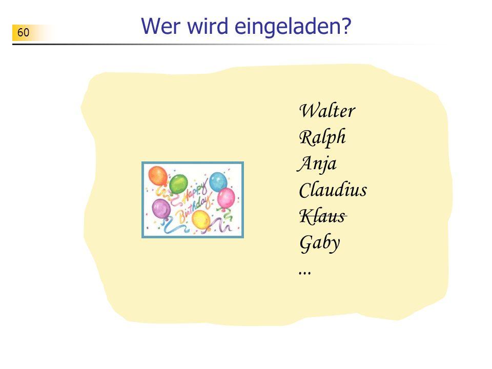 Wer wird eingeladen Walter Ralph Anja Claudius Klaus Gaby ...
