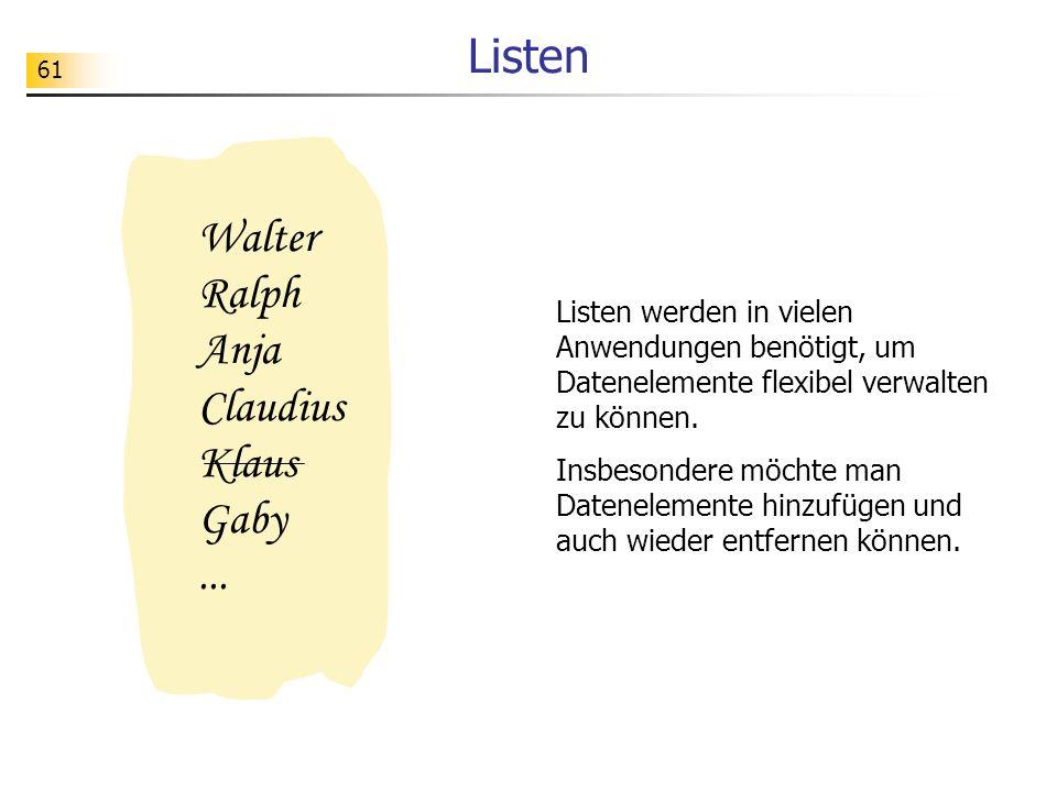 Listen Walter Ralph Anja Claudius Klaus Gaby ...