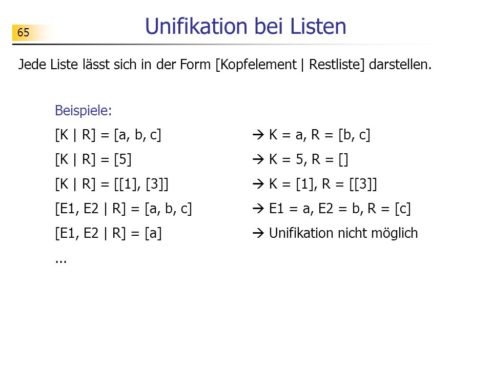Unifikation bei Listen