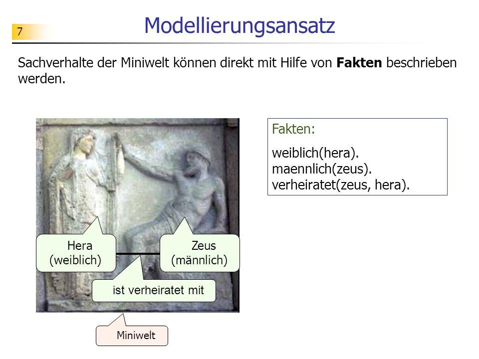 Modellierungsansatz Sachverhalte der Miniwelt können direkt mit Hilfe von Fakten beschrieben werden.