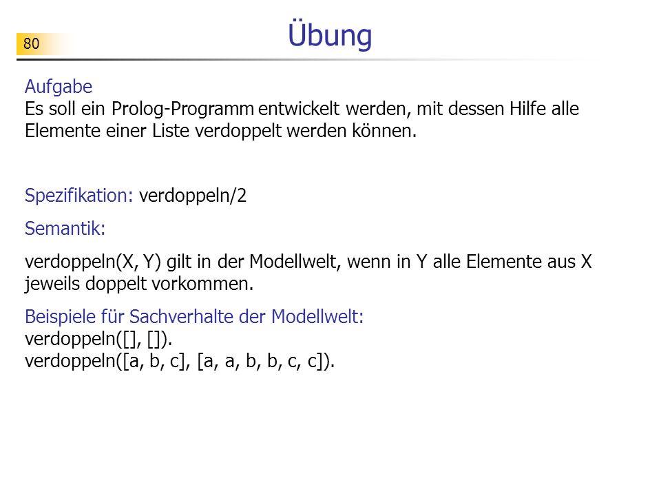 Übung Aufgabe Es soll ein Prolog-Programm entwickelt werden, mit dessen Hilfe alle Elemente einer Liste verdoppelt werden können.